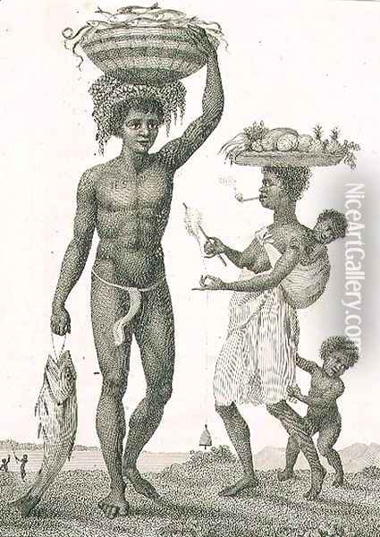 Family of Negro Slaves from Loango, 1792, plate 69 from Narrative of a Five Years Expedition against the Revolted Negroes of Surinam, engraved by William Blake 1757-1827 pub. 1806 Oil Painting - John Gabriel Stedman
