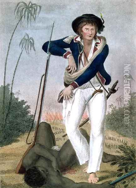 Self Portrait of the artist with a dead slave at his feet, from Narrative of a Five Years Expedition against the Revolted Negroes of Surinam, in Guiana, on the Wild Coast of South America, from the year 1772 to 1777, engraved by Francesco Bartolozzi Oil Painting - John Gabriel Stedman