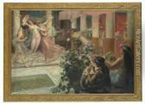 Dancers And Musicians In The Atrium Oil Painting - Georges Antoine Rochegrosse