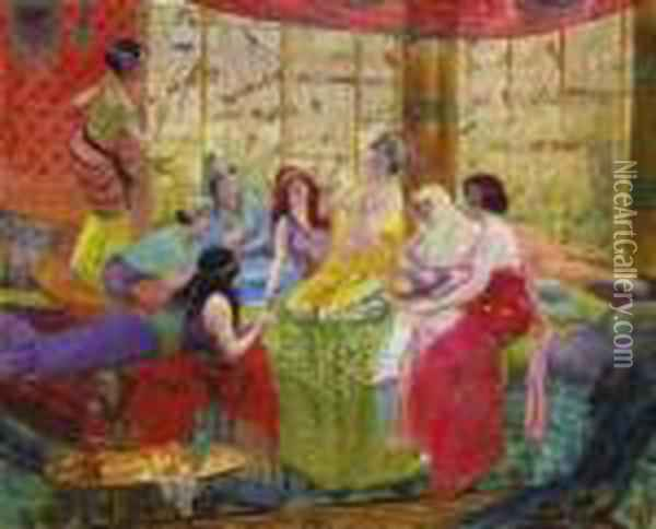 Harem Girls In An Aviary Oil Painting - Georges Antoine Rochegrosse