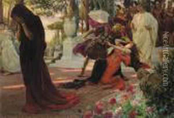 The Death Of Messalina Oil Painting - Georges Antoine Rochegrosse