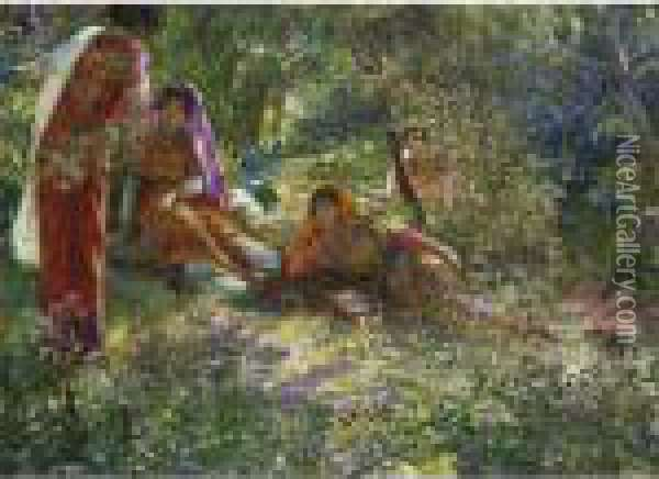 Young Women Resting In The Garden At El Biar In Algiers Oil Painting - Georges Antoine Rochegrosse