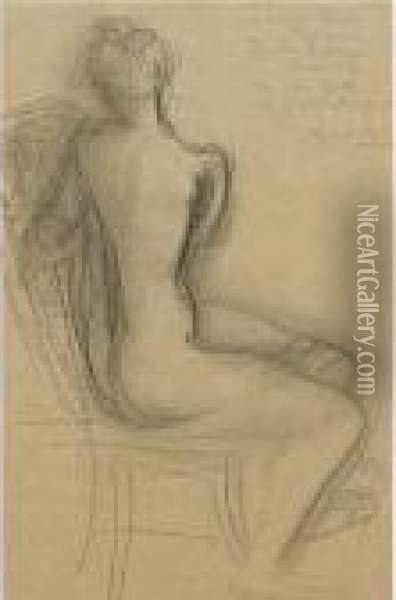 Seated Nude Oil Painting - Auguste Rodin
