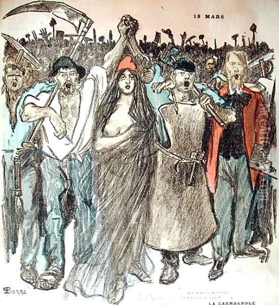 La Carmagnole, patriotic song of the French Revolution, from Le Chambard Socialiste, 1894 Oil Painting - Theophile Alexandre Steinlen