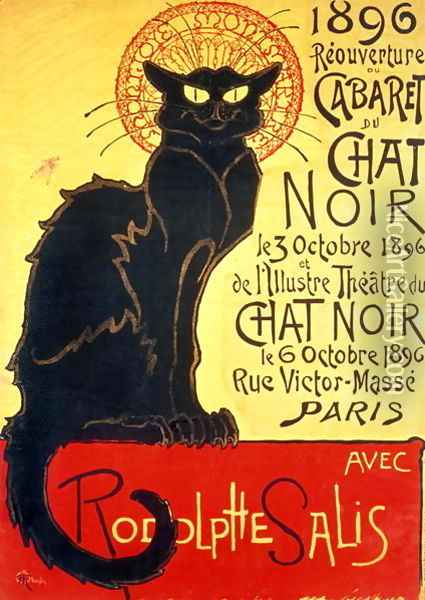 Reopening of the Chat Noir Cabaret, 1896 Oil Painting - Theophile Alexandre Steinlen