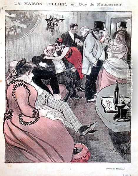 Illustration for La Maison Tellier by Guy de Maupassant 1850-93, front cover of Gil Blas, 9th October 1892 2 Oil Painting - Theophile Alexandre Steinlen