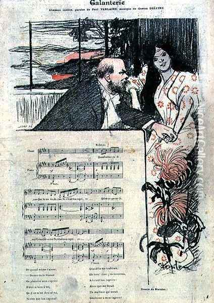 Illustrated score sheet for Galenterie, words by Paul Verlaine and music by Gaston Deletre Oil Painting - Theophile Alexandre Steinlen