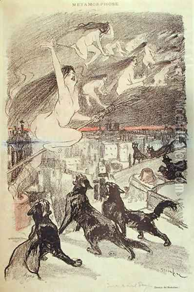 Metamorphosis - black cats transforming themselves into witches, late 19th century Oil Painting - Theophile Alexandre Steinlen