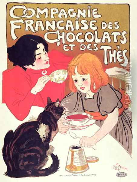 Poster advertising the Compagnie Francaise des Chocolats et des Thes, c.1898 Oil Painting - Theophile Alexandre Steinlen
