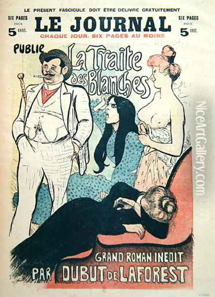 La Traite des Blanches, by Jean-Louis Dubut de Laforest 1853-1902, cover of Le Journal, end 19th century Oil Painting - Theophile Alexandre Steinlen