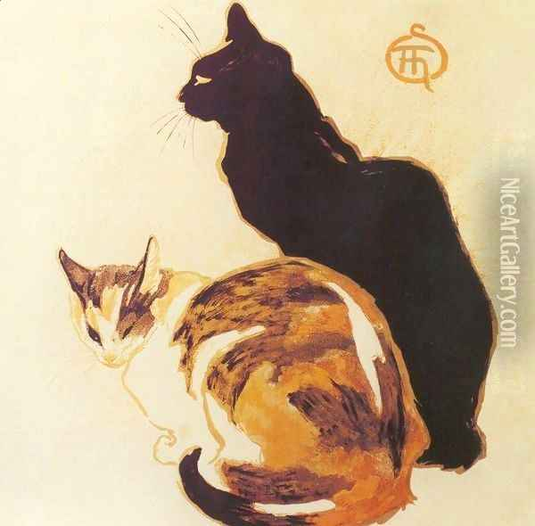 Les Chats - The Cats Oil Painting - Theophile Alexandre Steinlen