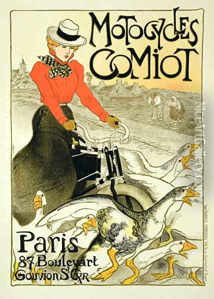Reproduction of a Poster Advertising Comiot Motorcycles, 1899 Oil Painting - Theophile Alexandre Steinlen