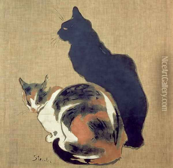 Two Cats, 1894 Oil Painting - Theophile Alexandre Steinlen