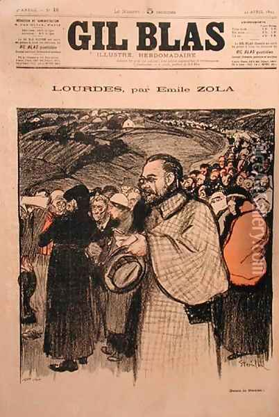 Front cover of Gil Blas containing the first instalment of Lourdes by Emile Zola 1840-1902 1894 Oil Painting - Theophile Alexandre Steinlen