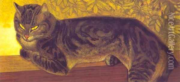 Summer: Cat on a balustrade Oil Painting - Theophile Alexandre Steinlen