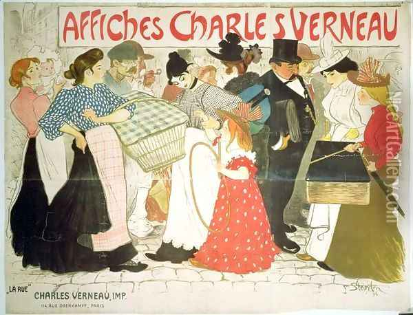 The Street, poster for the printer Charles Verneau, 1896 Oil Painting - Theophile Alexandre Steinlen