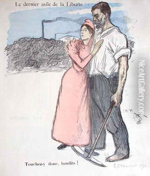 Marianne with a Worker, illustration from Le Chambard Socialiste 1891 Oil Painting - Theophile Alexandre Steinlen