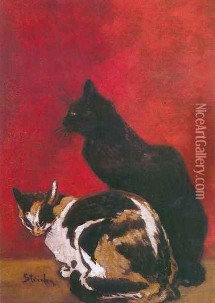 Les Chats - The Cats I Oil Painting - Theophile Alexandre Steinlen