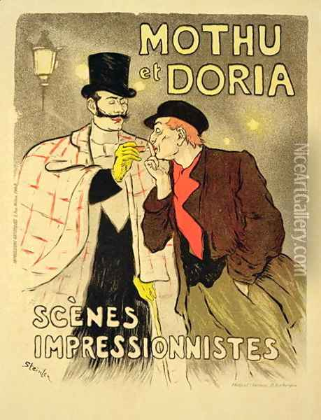 Reproduction of a poster advertising Mothu and Doriain impressionist scenes, 1893 Oil Painting - Theophile Alexandre Steinlen