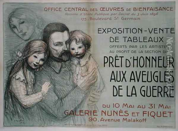 Poster advertising an art sale in aid of blinded soldiers, 1917 Oil Painting - Theophile Alexandre Steinlen