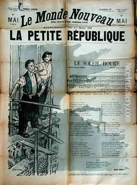 Two Builder workers singing Le Soleil Rouge, front cover of La Petite Republique, 1st May 1896 Oil Painting - Theophile Alexandre Steinlen
