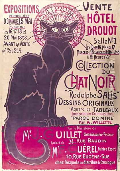 Poster advertising an exhibition of the Collection du Chat Noir cabaret at the Hotel Drouot, Paris, May 1898 Oil Painting - Theophile Alexandre Steinlen
