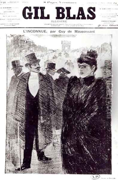 Illustration for LInconnue by Guy de Maupassant 1850-94, front cover of Gil Blas, 1st November 1891 Oil Painting - Theophile Alexandre Steinlen