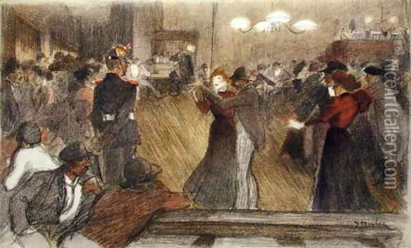 Local Dance, from LEstampe Moderne, published Paris 1897-99 Oil Painting - Theophile Alexandre Steinlen