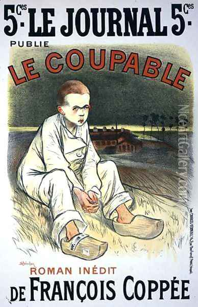 Reproduction of a poster advertising the novel Le Coupable, by Francois Coppee, published in Le Journal, 1896 Oil Painting - Theophile Alexandre Steinlen