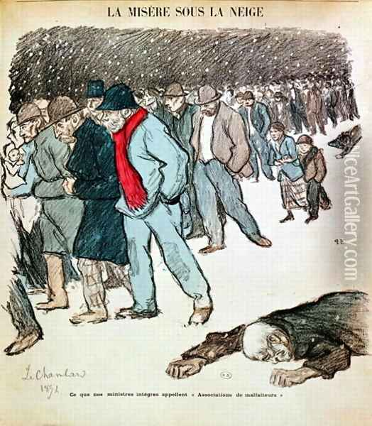 The Misery of Workers and the Unemployed in the Snow, illustration from Le Chambard Socialiste 1894 Oil Painting - Theophile Alexandre Steinlen