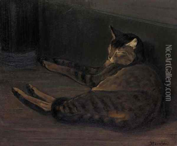 Chat dormant Oil Painting - Theophile Alexandre Steinlen