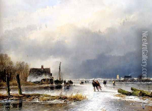A Winter Landscape With Skaters On A Frozen Waterway Oil Painting - Andreas Schelfhout