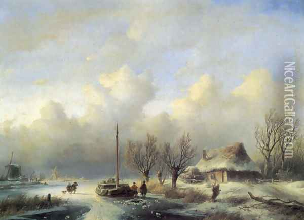 Figures in a winter landscape Oil Painting - Andreas Schelfhout