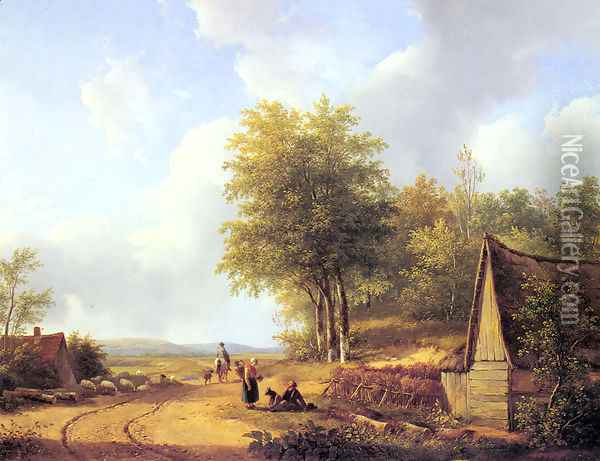 The Country Road Oil Painting - Andreas Schelfhout