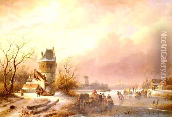 Skaters On A Frozen River Oil Painting - Andreas Schelfhout