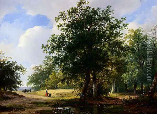 Peasants In A Cornfield Oil Painting - Andreas Schelfhout