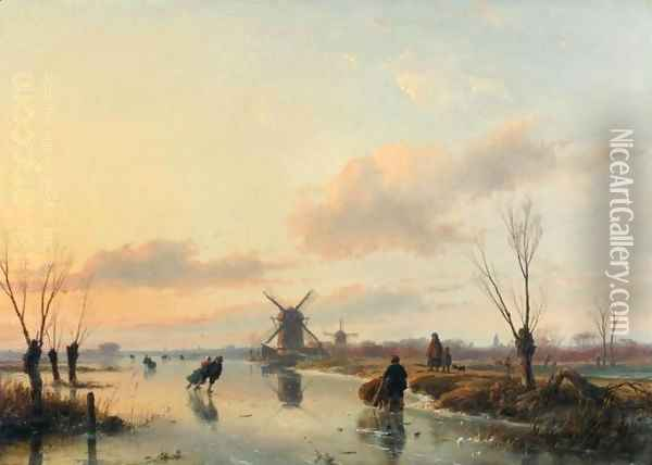 Skaters in a Winter Landscape with Windmills Oil Painting - Andreas Schelfhout