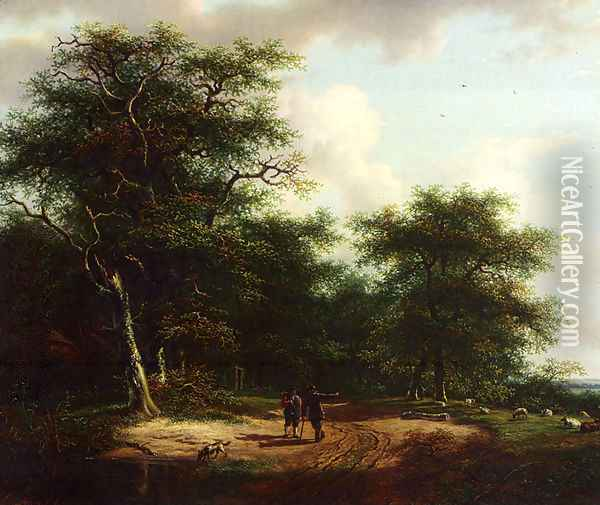 Two Figures In A Summer Landscape Oil Painting - Andreas Schelfhout