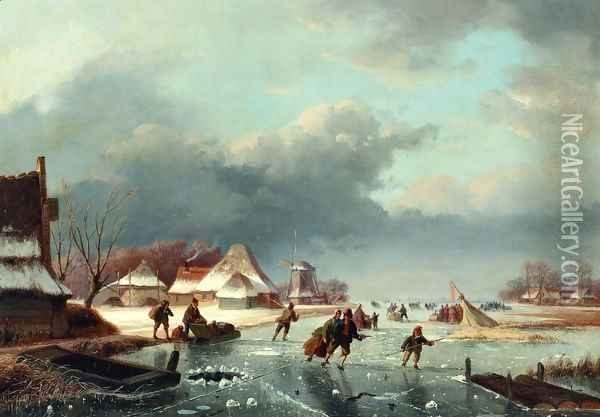 Figures Skating on a Frozen River Oil Painting - Andreas Schelfhout