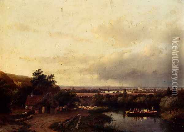 A Summer Landscape With A Ferry Oil Painting - Andreas Schelfhout