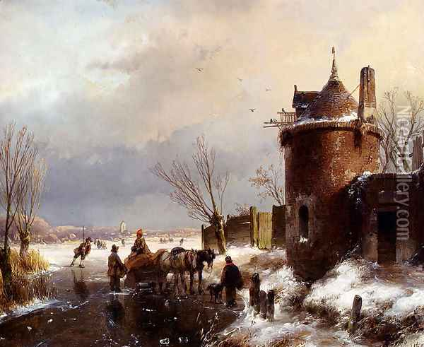Figures With A Horse Sledge On The Ice, A Town In The Distance Oil Painting - Andreas Schelfhout