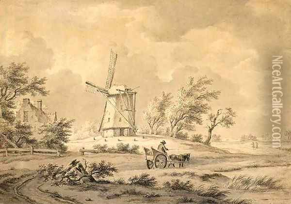 Horse and Carriage Near a Windmill Oil Painting - Andreas Schelfhout