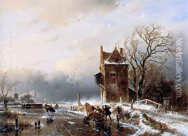 Skaters in Stormy Weather Oil Painting - Andreas Schelfhout