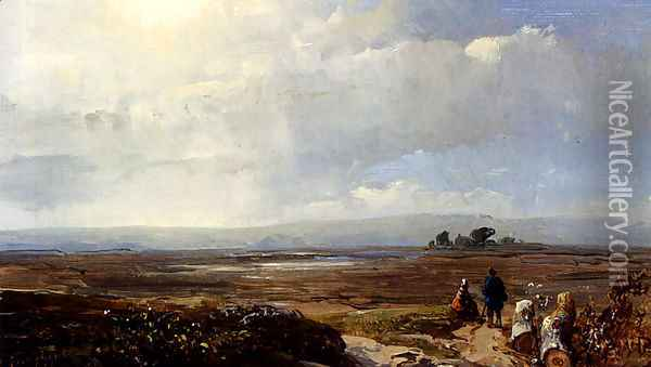 Travellers In An Extensive Landscape Oil Painting - Andreas Schelfhout