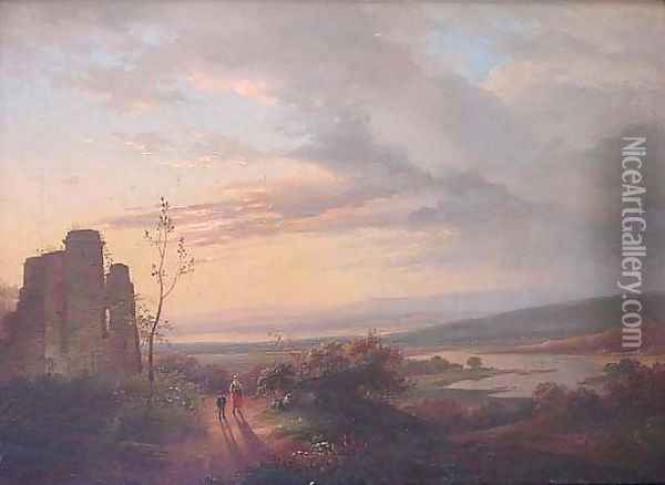 Castle Ruins at Twilight Oil Painting - Andreas Schelfhout