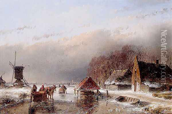 A Winter Landscape Oil Painting - Andreas Schelfhout