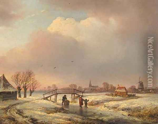 A winter landscape with figures on a frozen waterway Oil Painting - Andreas Schelfhout