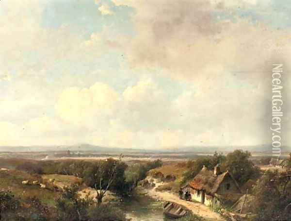 A panoramic landscape in summer 2 Oil Painting - Andreas Schelfhout