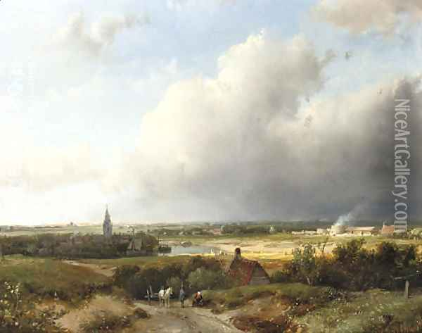 A panoramic Dutch river landscape Oil Painting - Andreas Schelfhout