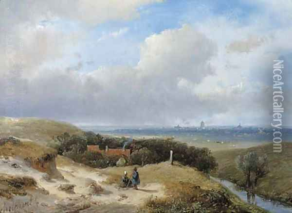 A panoramic summer landscape with travellers resting in the dunes Oil Painting - Andreas Schelfhout